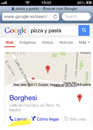 Resultados de búsqueda por móvil
